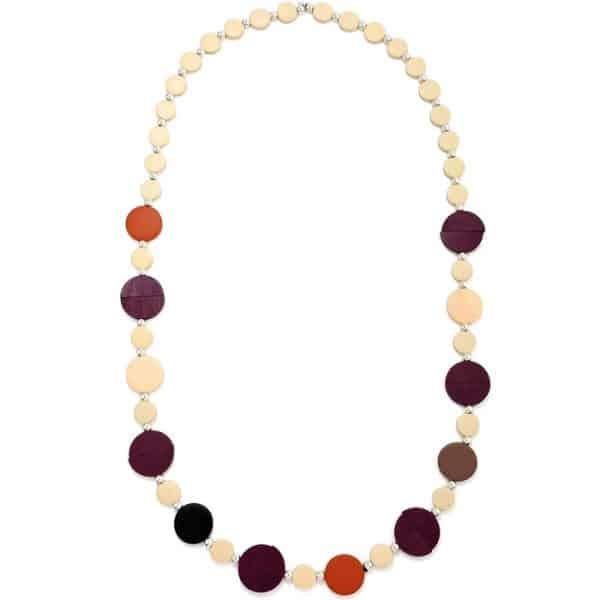 Women's pastel colourful button shaped design long fitting necklace made from wood