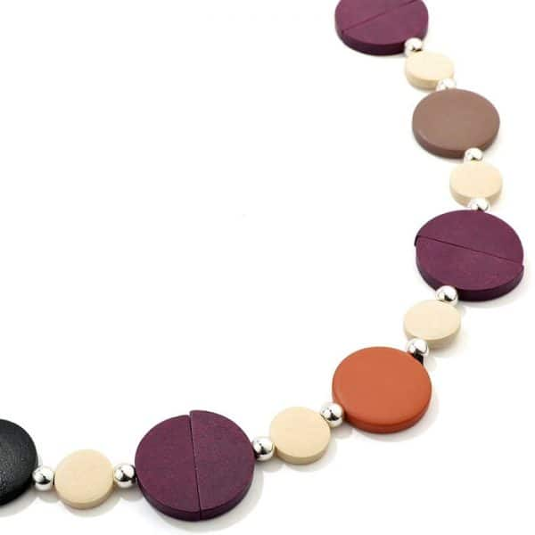 Costume jewellery pastel colourful button shaped design long fitting necklace made from wood