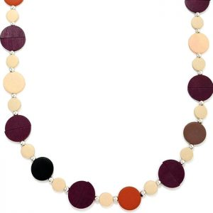 Pastel colourful button shaped design long fitting necklace made from wood