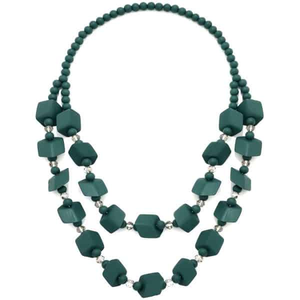 Women's green colour beaded wood long necklace