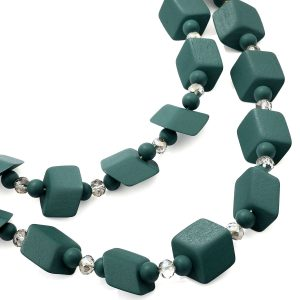 Women's green colour double bead wood long necklace