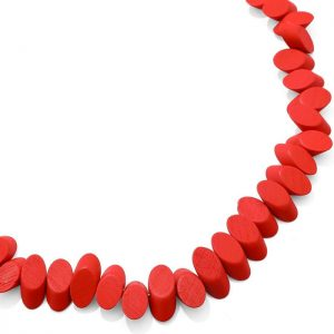 costume jewellery pastel red colour irregular shaped wood long fitting necklace