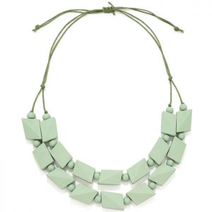 Women's pastel green colour irregular shape beaded wood necklace