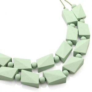 Costume jewellery women's pastel green colour irregular shape beaded wood necklace