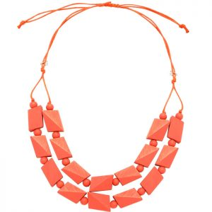 Women's pastel pink colour irregular shape beaded wood necklace