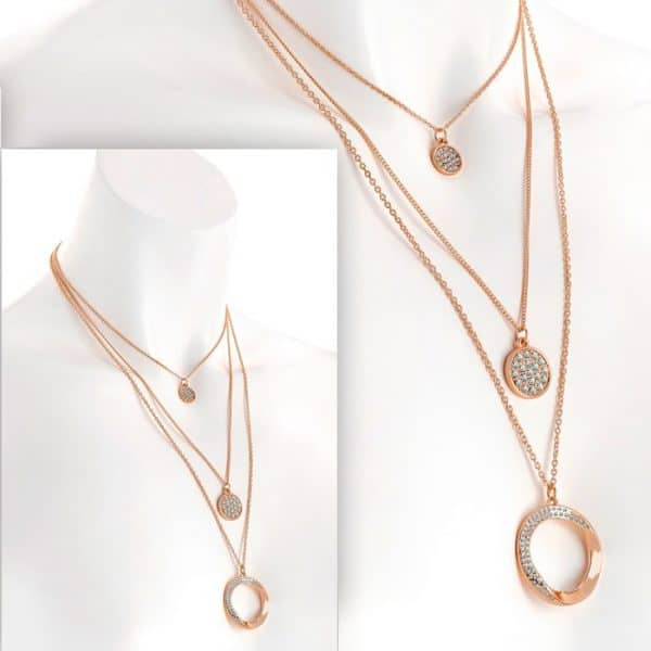 Three row rose gold colour crystal charm chain necklace