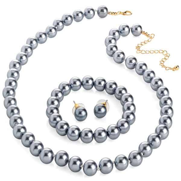 Grey faux pearl round bead necklace with an elasticated bracelet and matching earrings jewellery set