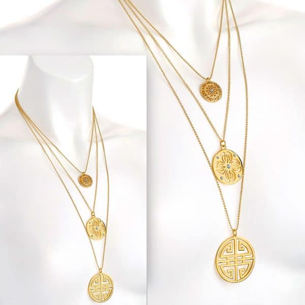 Three row gold colour crystal disc bead necklace