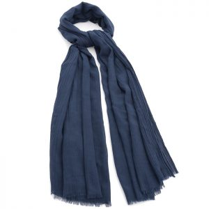 Navy colour crinkle finish scarf