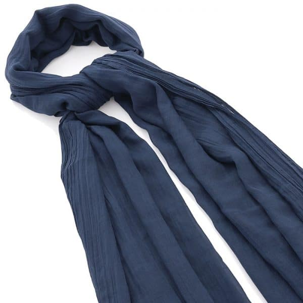 Navy blue colour crinkle finish scarf