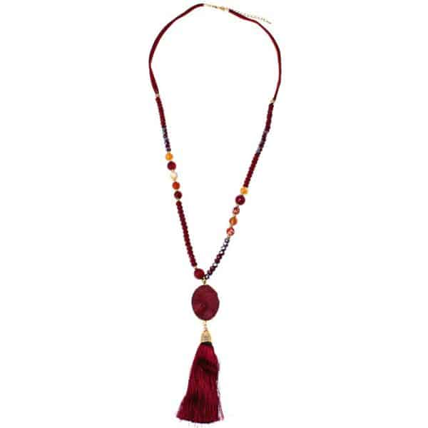 Genuine red agate tassel pendant on a beaded long fitting necklace