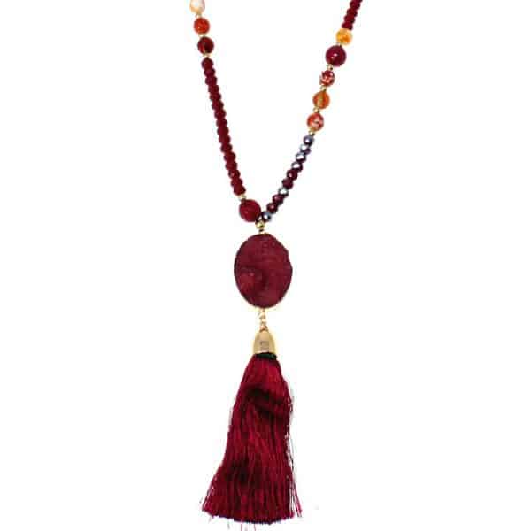 Genuine red agate tassel pendant on a beaded long necklace