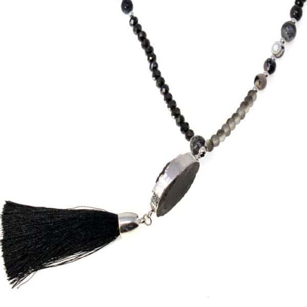 Genuine black agate tassel pendant on a beaded long necklace