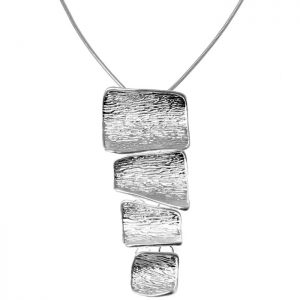 Lagenlook silver colour irregular shape large pendant on a long chain necklace