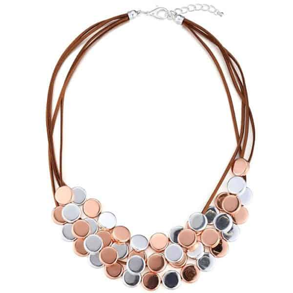 Costume jewellery rose gold and silver colour round disc on a brown leather choker necklace