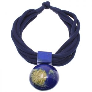 Blue resin oversized large round statement pendant on a black fabric choker necklace tribal fashion jewellery