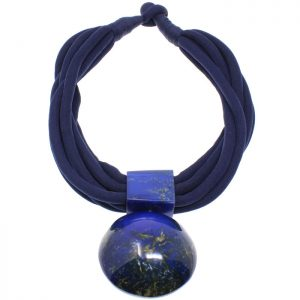 Blue resin oversized large round statement pendant on a black fabric choker necklace tribal jewellery