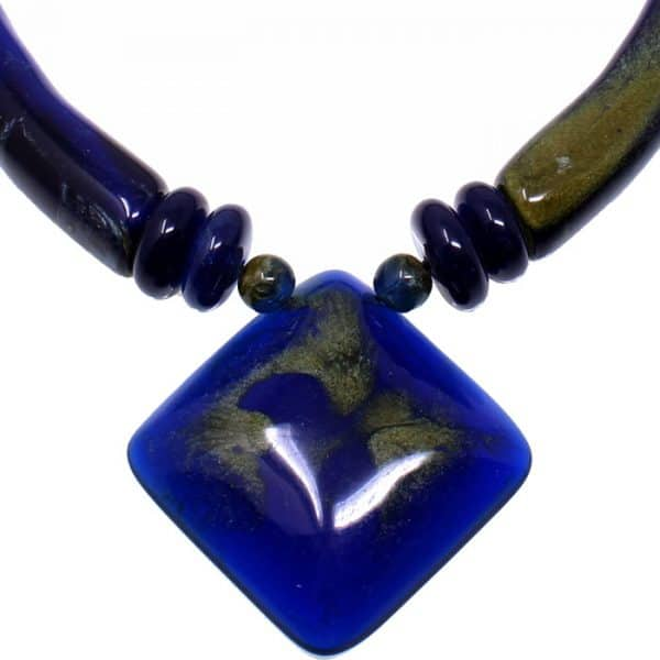 Blue acrylic resin oversized large pendant on a bead choker necklace