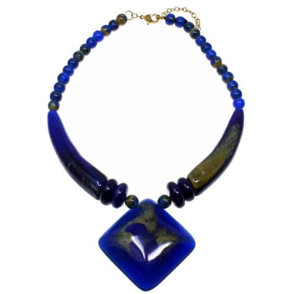 Blue acrylic resin oversized large pendant on a bead choker necklace tribal jewellery