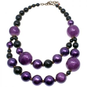 Double layered purple colour large weighty bead choker necklace
