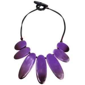 Oversized large statement jewellery purple colour on a black cord choker necklace