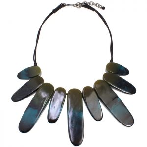 Tribal acrylic statement jewellery dark blue green  on a black fabric choker necklace