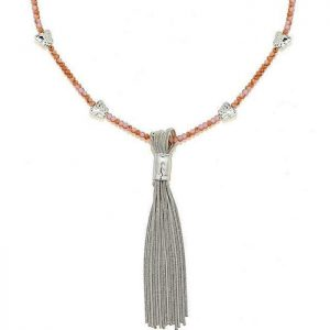 Fashion jewellery pink beaded long chain silver tassel necklace with butterfly charms