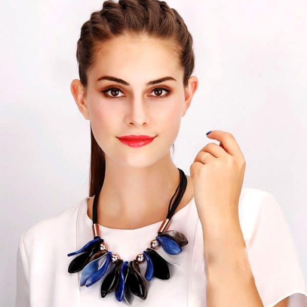 Petal leaf design colourful acrylic and metal statement choker necklace