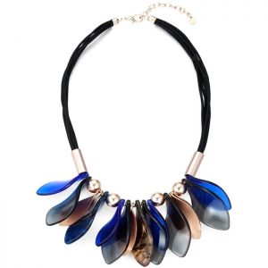 Costume jewellery petal leaf design colourful acrylic and metal statement choker necklace