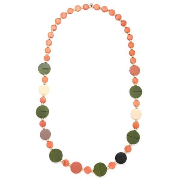 Women's colourful pastel button shaped design long fitting necklace made from wood
