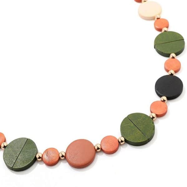 Colourful pastel button shaped design long fitting necklace made from wood