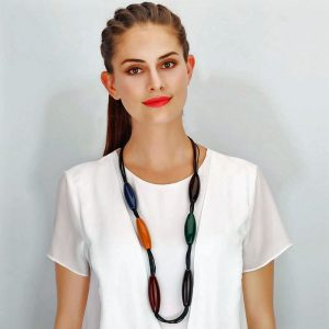 Colourful large acrylic resin ellipse shape long fitting necklace