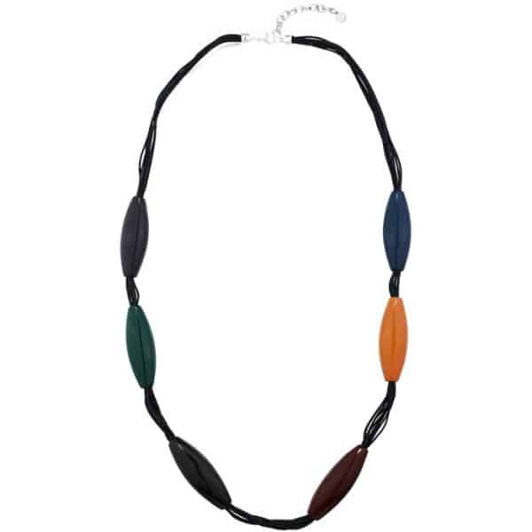 Costume jewellery colourful large acrylic resin ellipse shape long fitting necklace