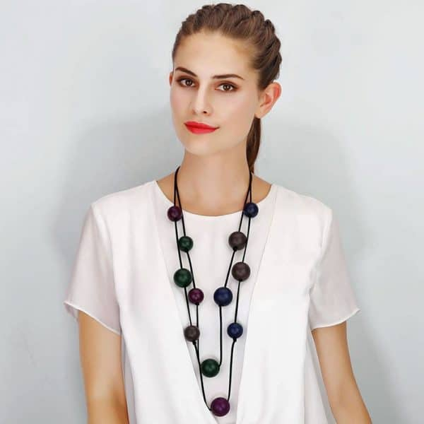 Costume jewellery wooden balls double strand long fitting necklace