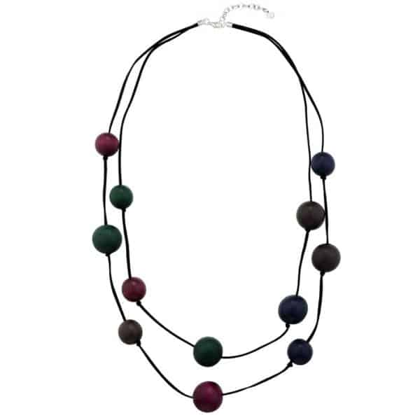 women's wooden balls double strand long fitting necklace
