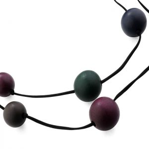 women's costume jewellery wooden balls double strand long fitting necklace