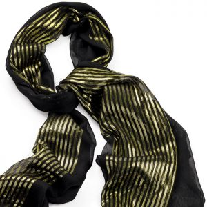 Black and gold colour lurex printed design scarf