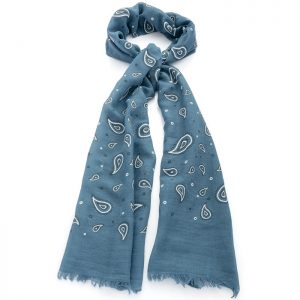 Blue and white paisley printed scarf