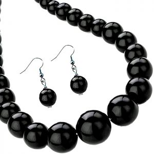 Black bead choker necklace and matching earrings fashion jewellery set