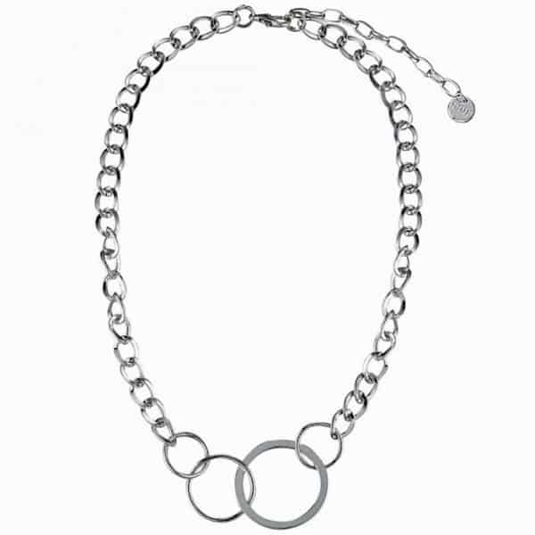 Costume jewellery silver colour loop ring choker necklace