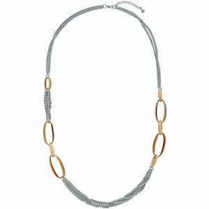Lagenlook chunky silver and gold colour long length necklace