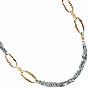 Lagenlook silver and gold colour long necklace
