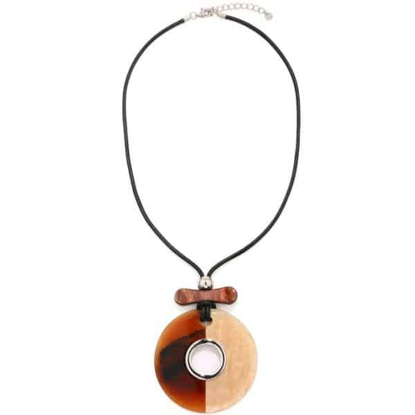 Very big round loop acrylic resin pendant on a cord long necklace
