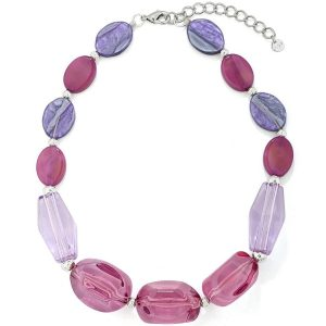 Chunky acrylic purple tone colour irregular shape bead choker necklace
