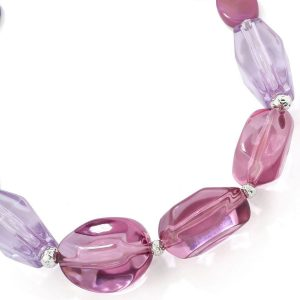 Costume jewellery chunky acrylic purple tone colour irregular shape bead choker necklace