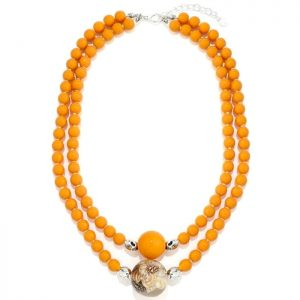 costume jewellery double layered orange bead choker necklace