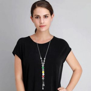 Lagenlook on a silver colour ingot style tassel long necklace