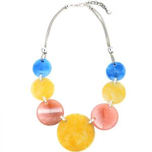 Multicoloured acrylic large round shape charms on a silver chain choker necklace