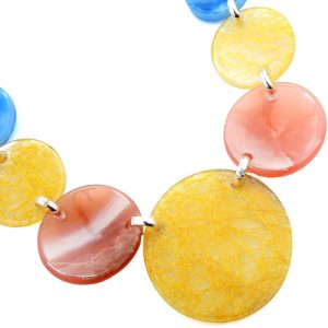 Multicoloured acrylic large round shape charms on a silver choker necklace