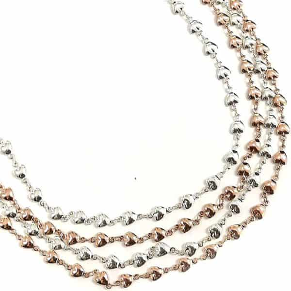 Costume jewellery layered silver and rose gold dainty heart choker necklace